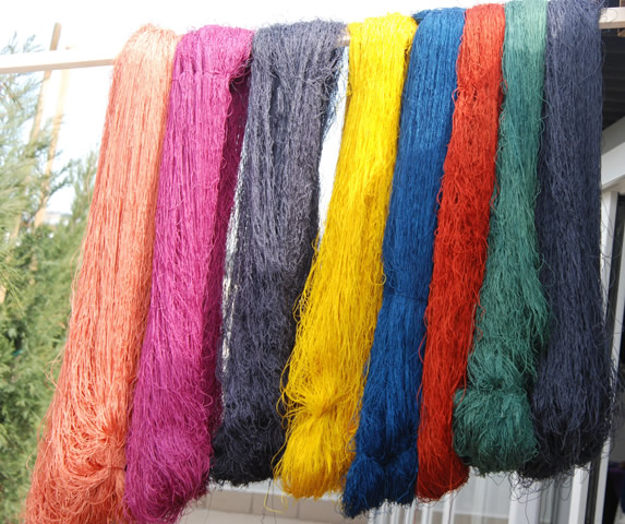 Silk yarns dyed by MArmara University Beautiful Arts Section using natural dyes natural dyes