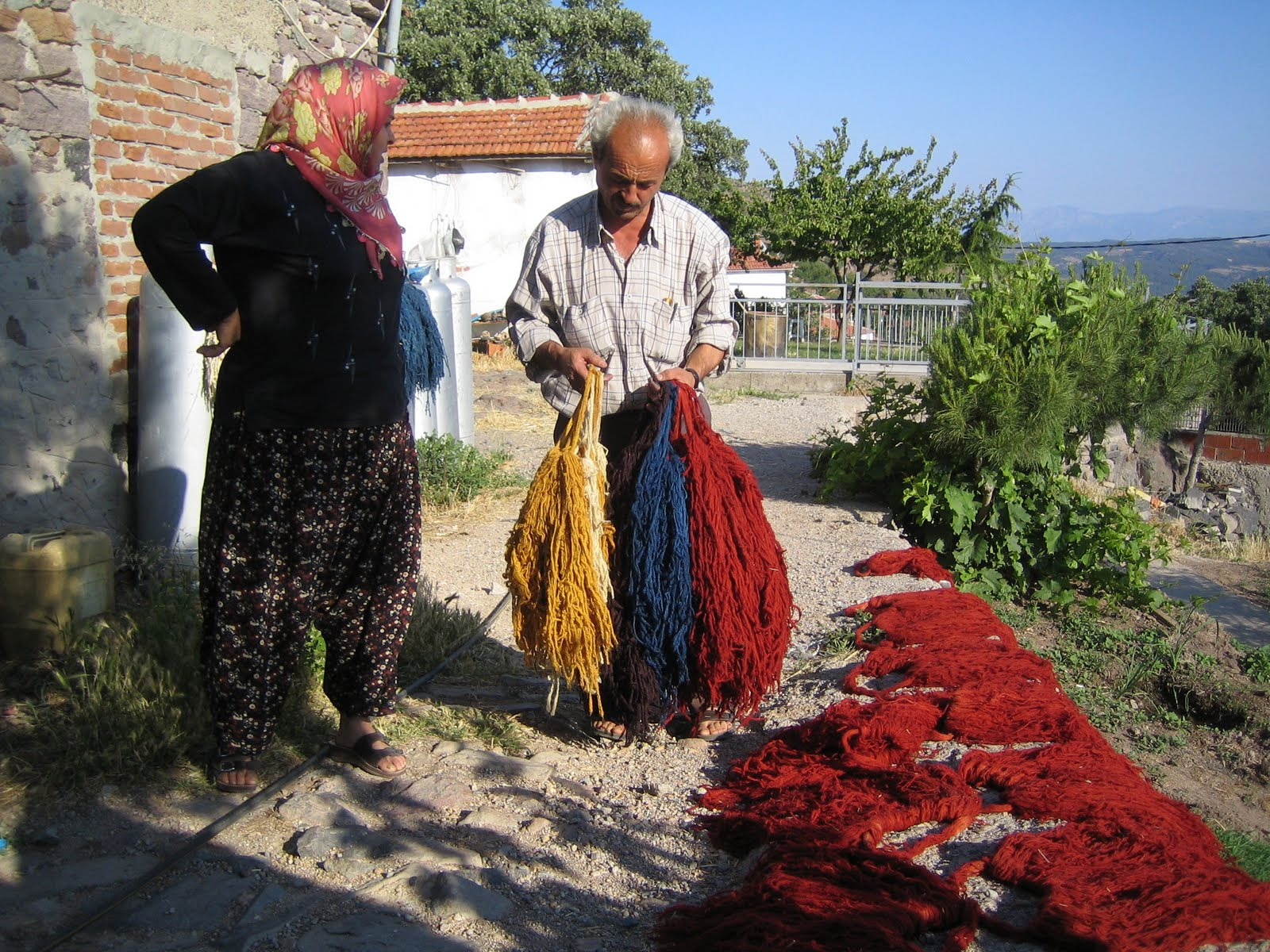 Natural-Dyed yarns are dried, Örselli village Manisa, Western Turkey, 2000s