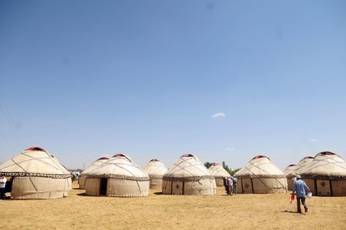 Turkmen tents constructed for the anniversary of the Battle of Manzikert in 1071, the event that provided Turks to settle in Turkey, 2018, Eastern Turkey