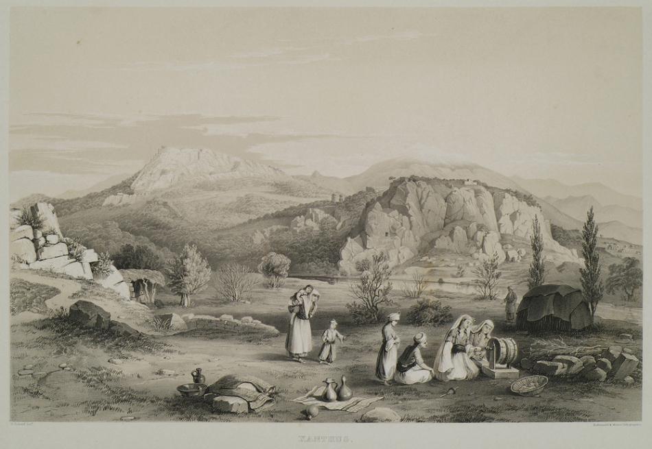 Turkmens in Fethiye, Western Turkey, Gravure by Georges Scharf 1847