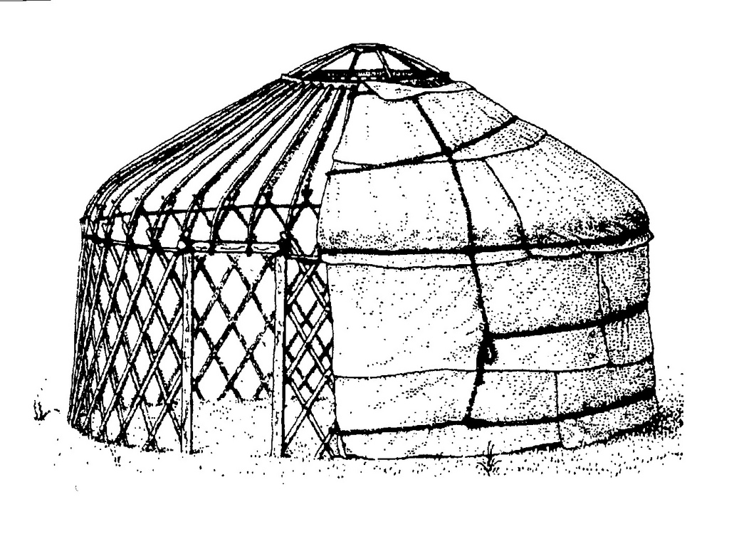 A typical model of Anatolian Turkmen round felt tent very similar to Centeal Asian tents