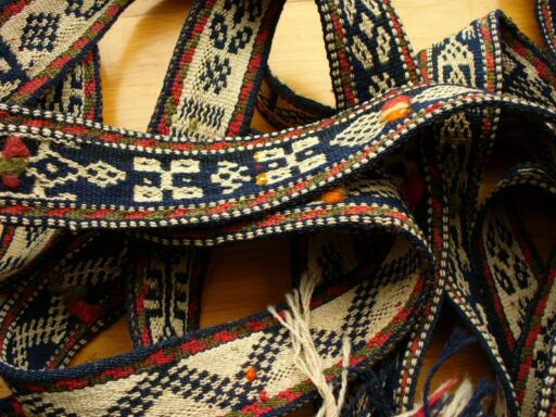A nomadic animal packing band with warp faced weaving