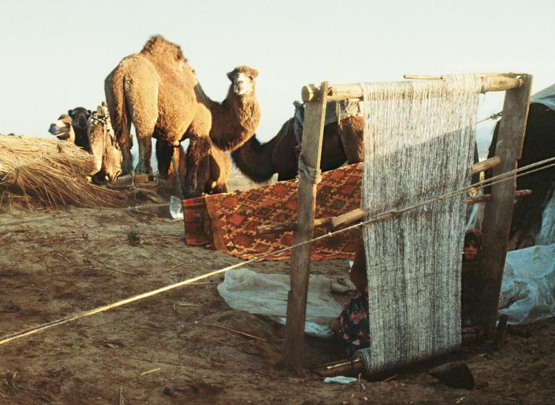 Sacikara Turkmen Encampment, a weaving activity goes on the loom, Kahramanmarash, Eastern Turkey, phoro courtesy, Josephine Powell, Suna Kıraç Fountation