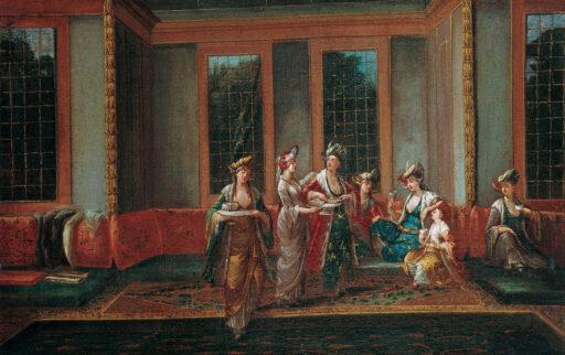 Jean-Baptiste_Vanmour_-_Women_Drinking_Coffee, Istanbul 17th Century