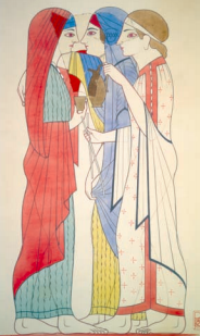 Reproduction of a Phrygian fresco found in Western Turkey showing the clothing of women at that period in Phrygia