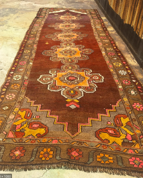 "Vintage ""Serhad"" area carpet with natural wool clors and some dyed yarns. Eastern Turkey"