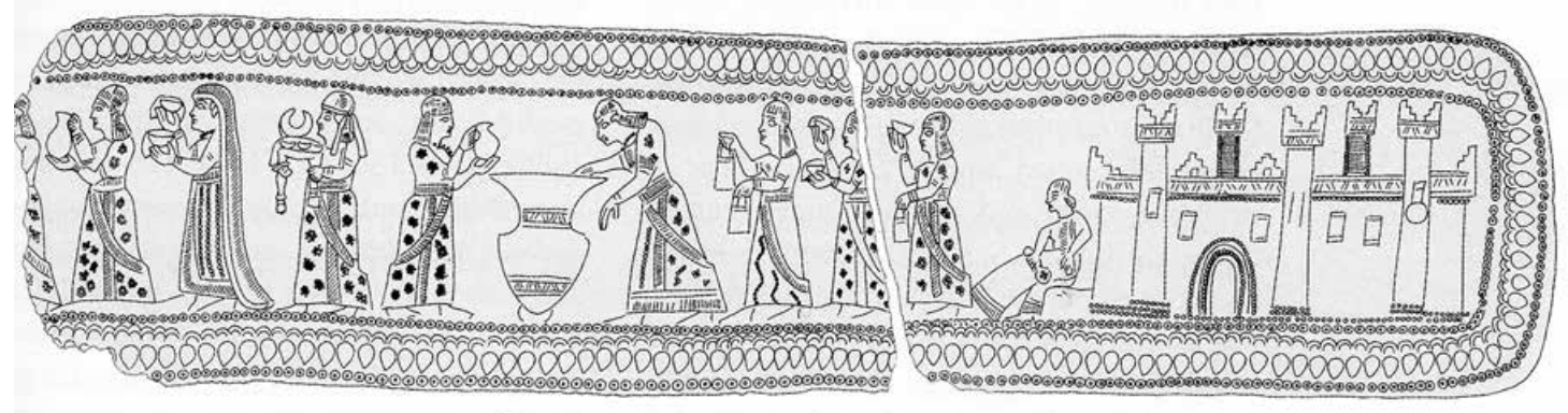Drawings on an Urartian Belt, having a woman holding a textile piece, Iron age, Eastern Turkey