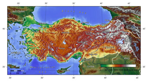 Turkey's altitude map