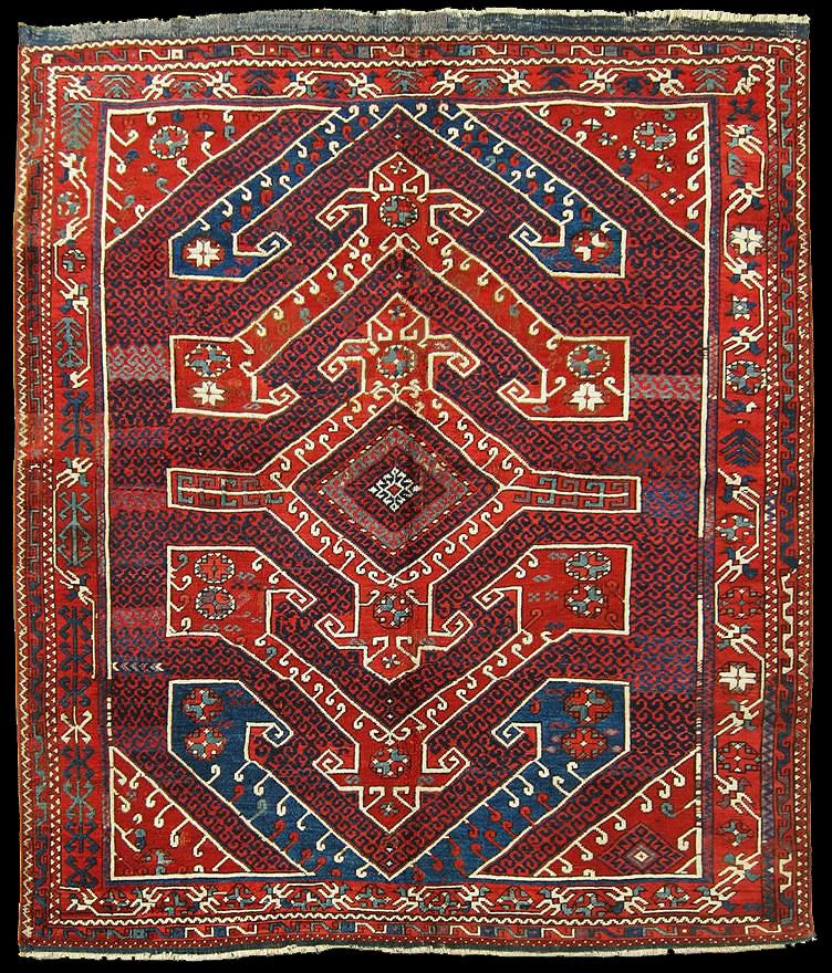 Antique Bergama Tribal carpet of Karakeçili Turkmens, mid-19th centuryi interpretation of the carpet pattern on the left