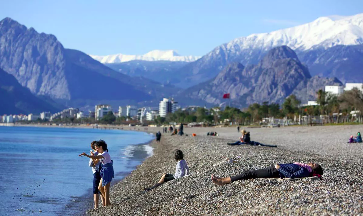 Western Taurus Mountains directly rasing up from the Mediterranean sea