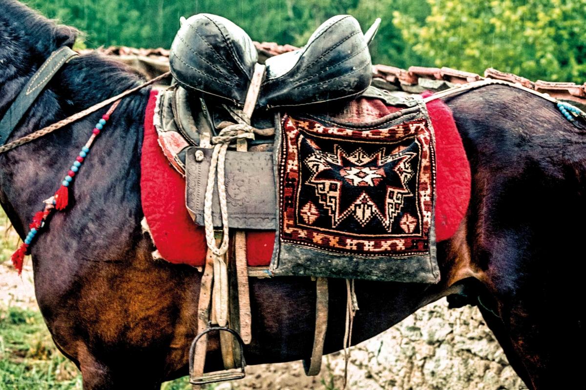 Heybe from pile carpet, placed ob the back of a horse. Yağcıbedir Turkmens, Bergama, Western Turkey early 1990s