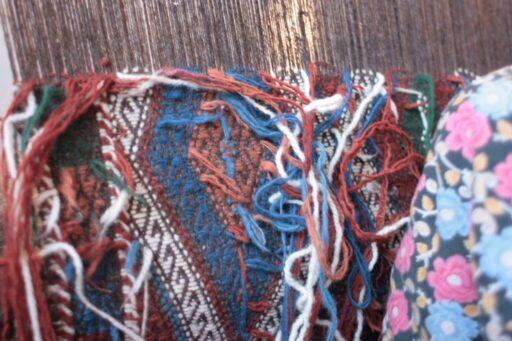 Weaving jijim from the back side on the loom, Çanakkale, Turkey