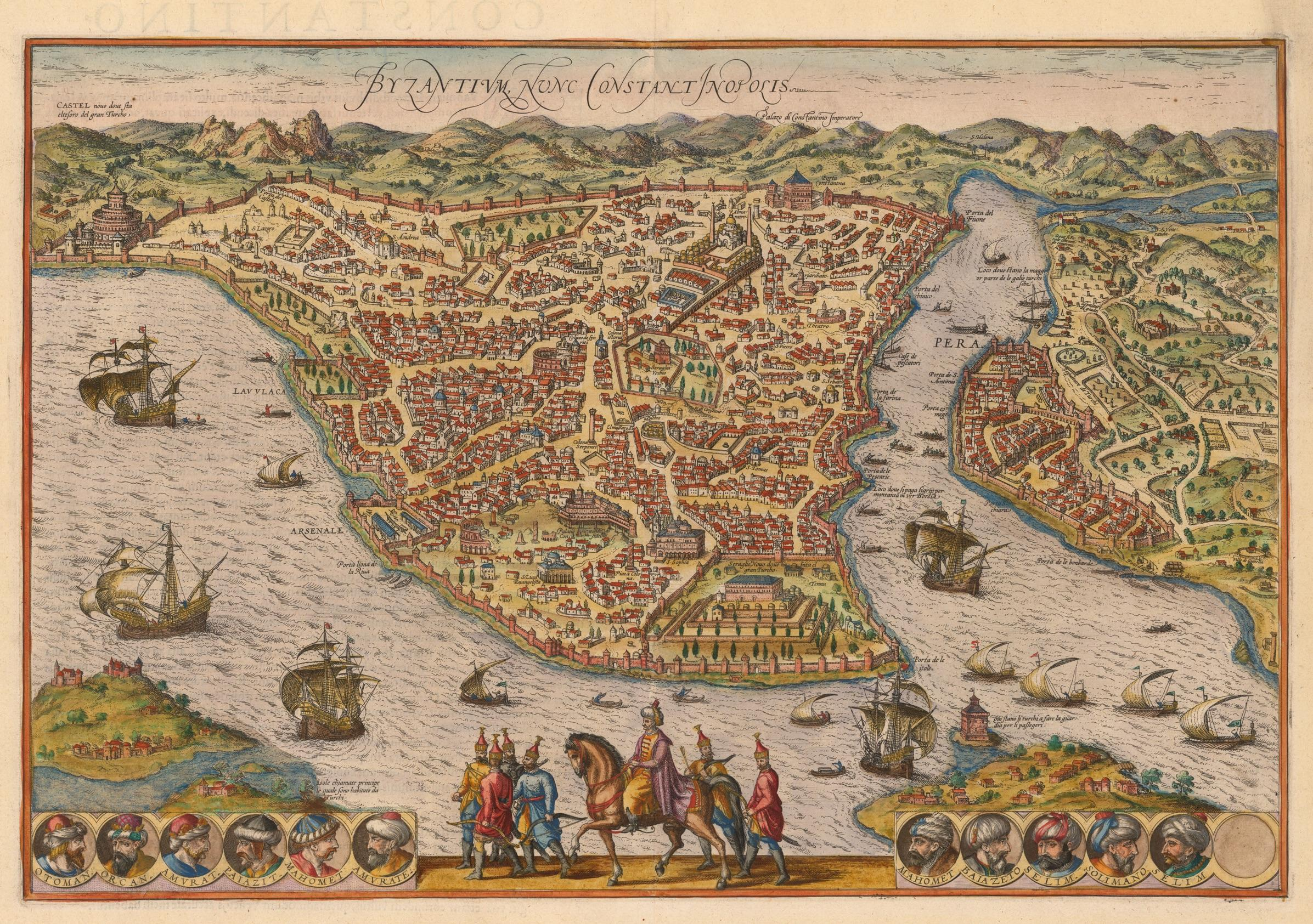 Istanbul, the Ottoman Capital with the Genovese part named Pera, 16th Century