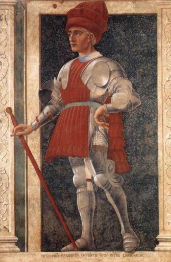Genovese Defender of Constantinople having Turkey Red costume. Painting of Andrea Del Castagno, mid-15th century
