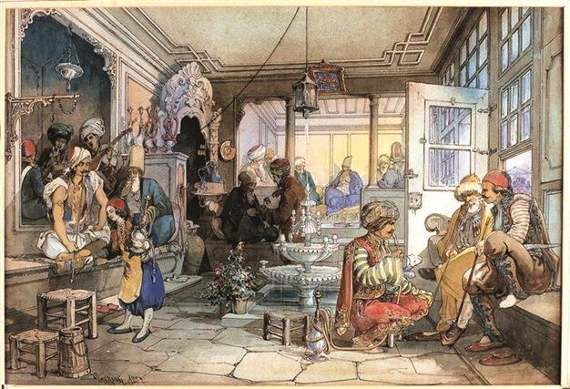 An orientalist gravure of late 18th century, depicting a coffee house in Istanbul