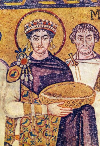 Byzantine Emperor Justinian with a costume dyed with Murex shells to iperial purple color, which was famous in the Levant