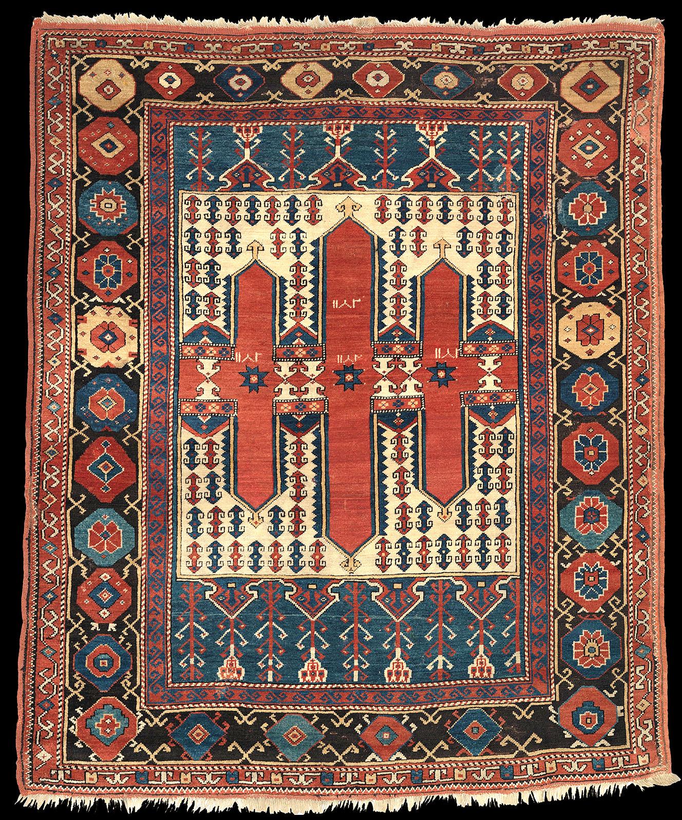 An antique Bergama village carpet of 18th century