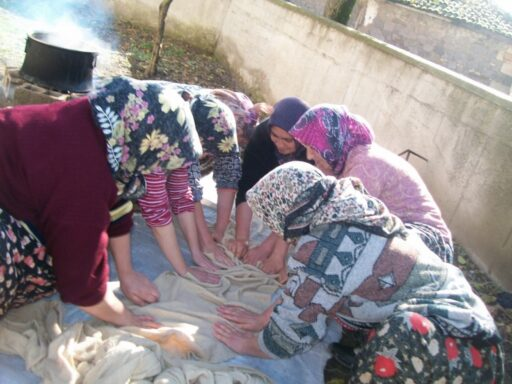 Şayak fabric being felted by the help of friction and hot water. Balıkesir, Western Turkey, 2016