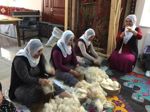 Women comb the wool Artvin, North-Eastern Turkey