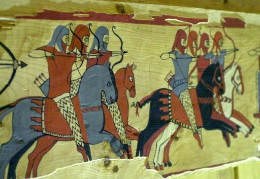 Reproduction of the fresco depicting the Lydian soldiers in their costumes. Iron age, Western Turkey