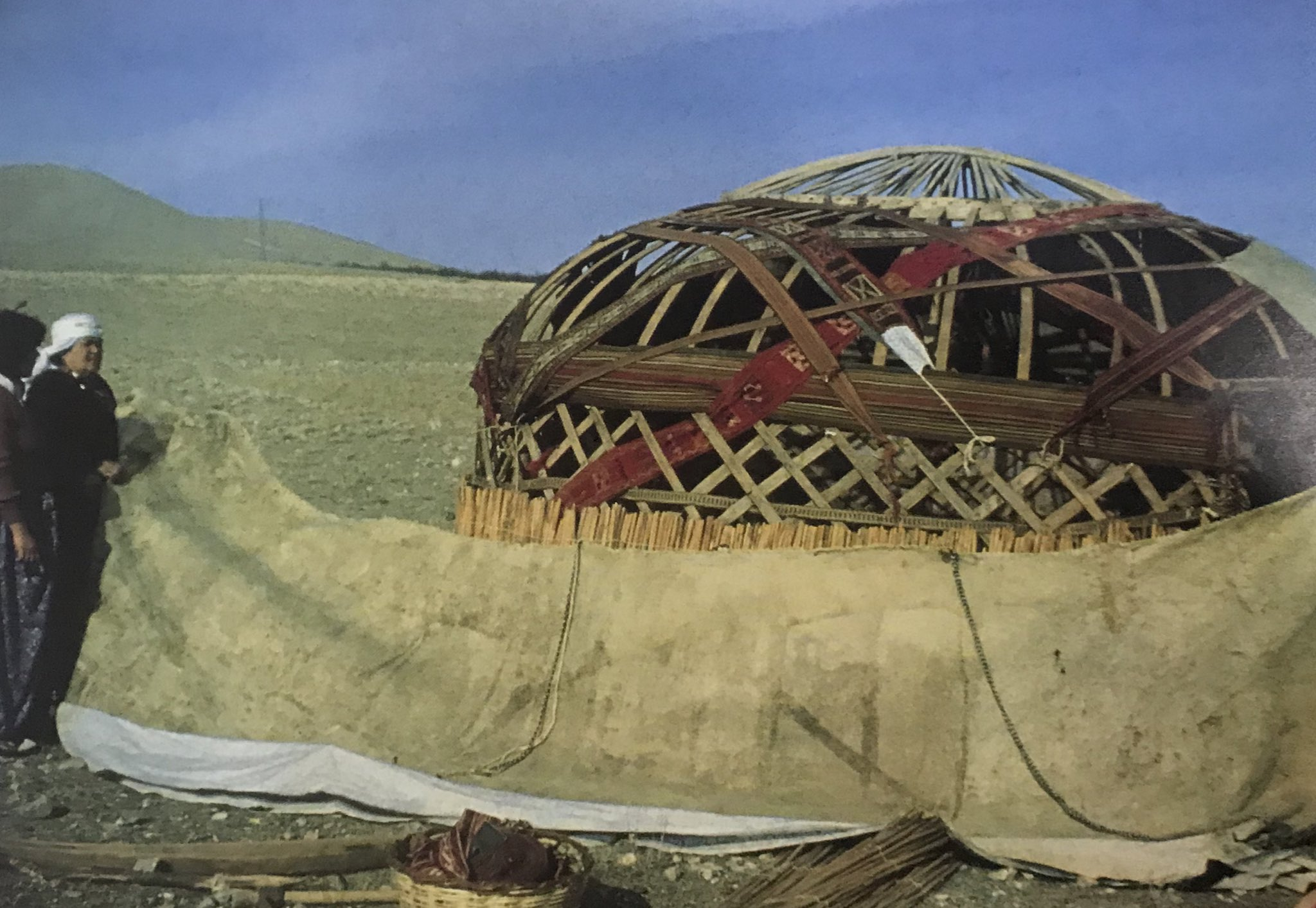The felt coverage of the walls is wrapped around the tent, Bayat Turkmens, Emirdağ Pasture, Afyon, West-Central Turkey, 1980s