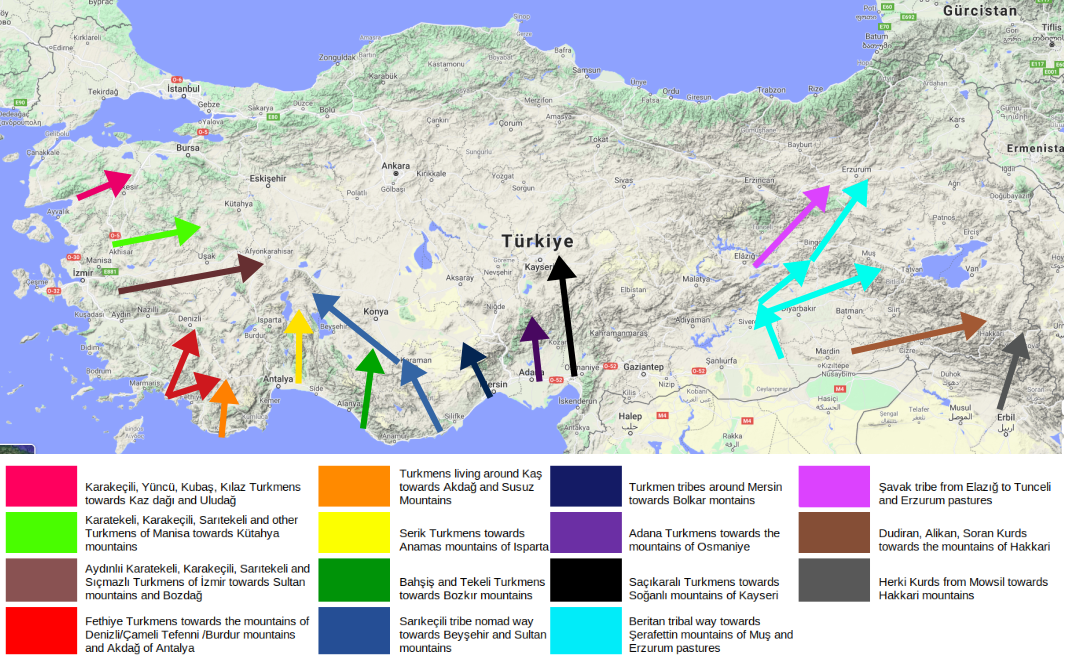 Main nomadic routes used by the tribespeople of Turkey