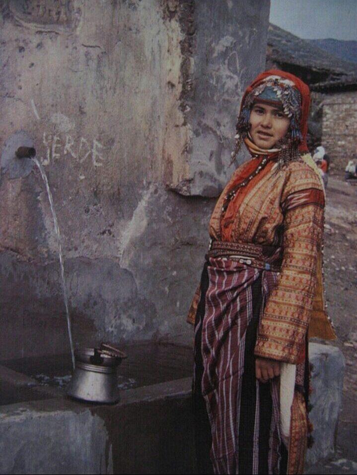 An Anatolian Turkmen woman with her traditional costume. Western Turkey