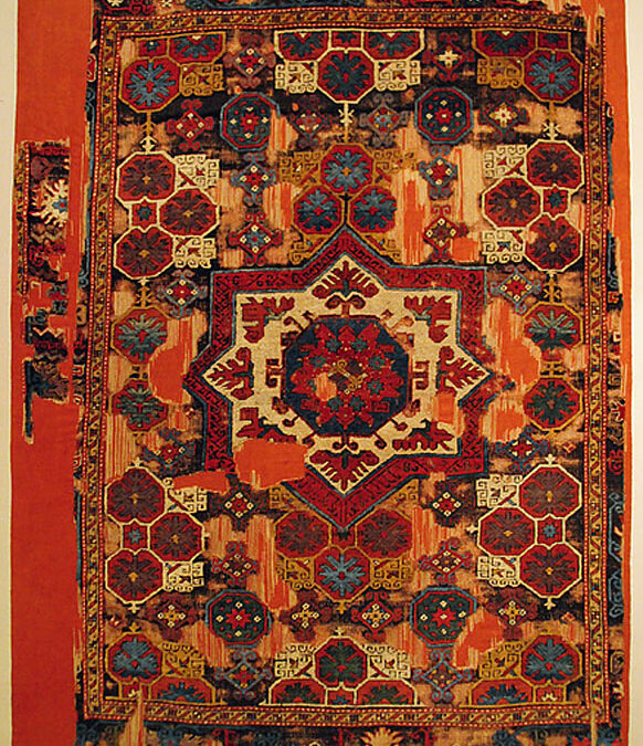 Turkish pie carpet fragment from Konya area, 17th Century, Cental Turkey, Turkish and Islamic Arts Museum