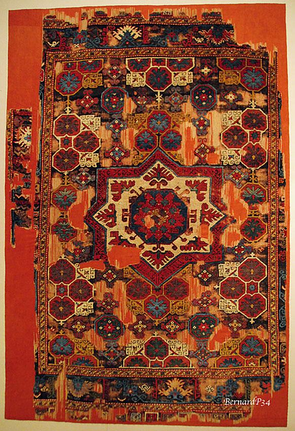 Turkish pie carpet fragment from Konya area, 17th Century, Cental Turkey, Turkish and Islamic Arts Museum